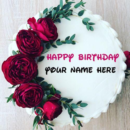 Generate Name On Rose Flower Birthday Cake Beautiful Floral Art Cake