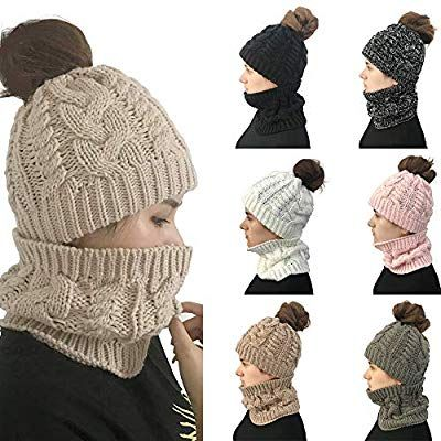 50f87ca562ae Amazon.com : Nacome Womens Slouchy Beanie Winter Hat Knit Warm Snow Ski  Skull Cap with Ponytail Hole Scarfs Set (Khaki) : Sports & Outdoors