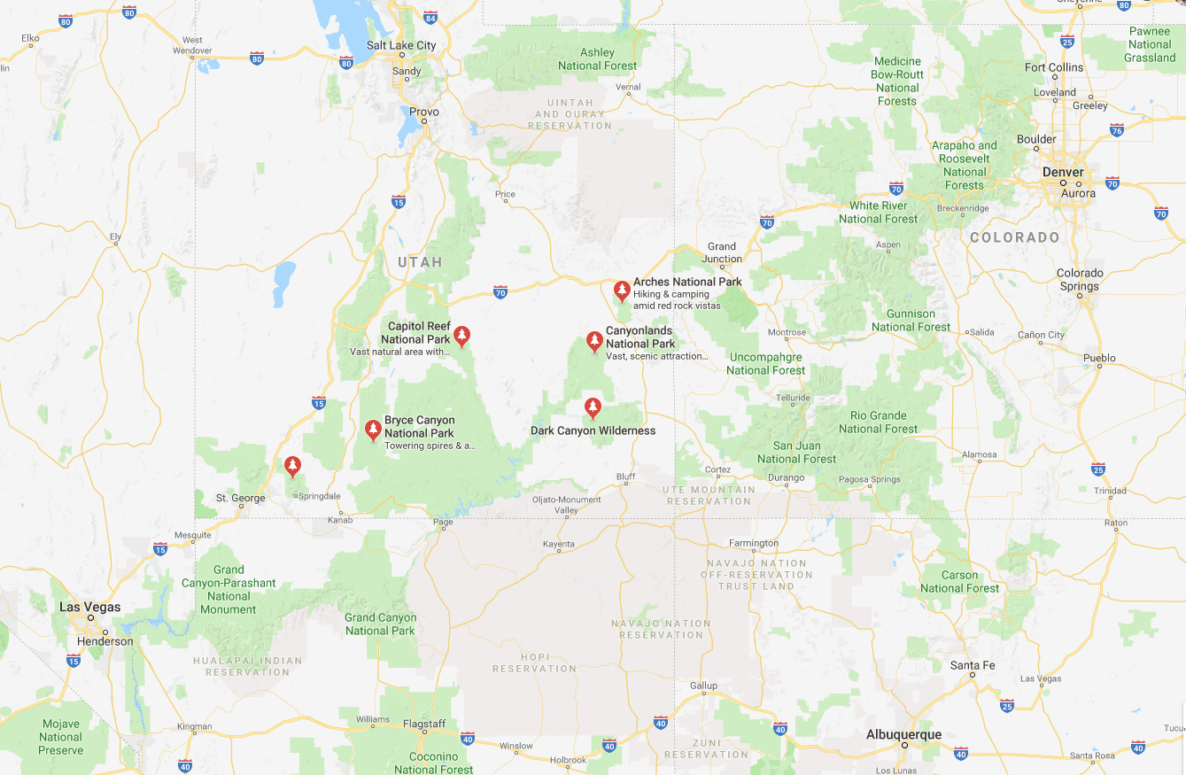 Utah National Parks Map Vacations in 2018 Pinterest