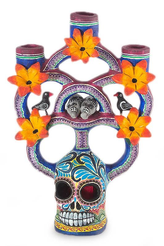 NOVICA ceramic candle holder - Day of the Dead Tree of Life