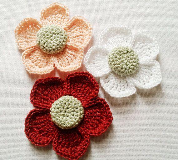 Crochet flower in burgundy peach white  handmade by Fiscraftland
