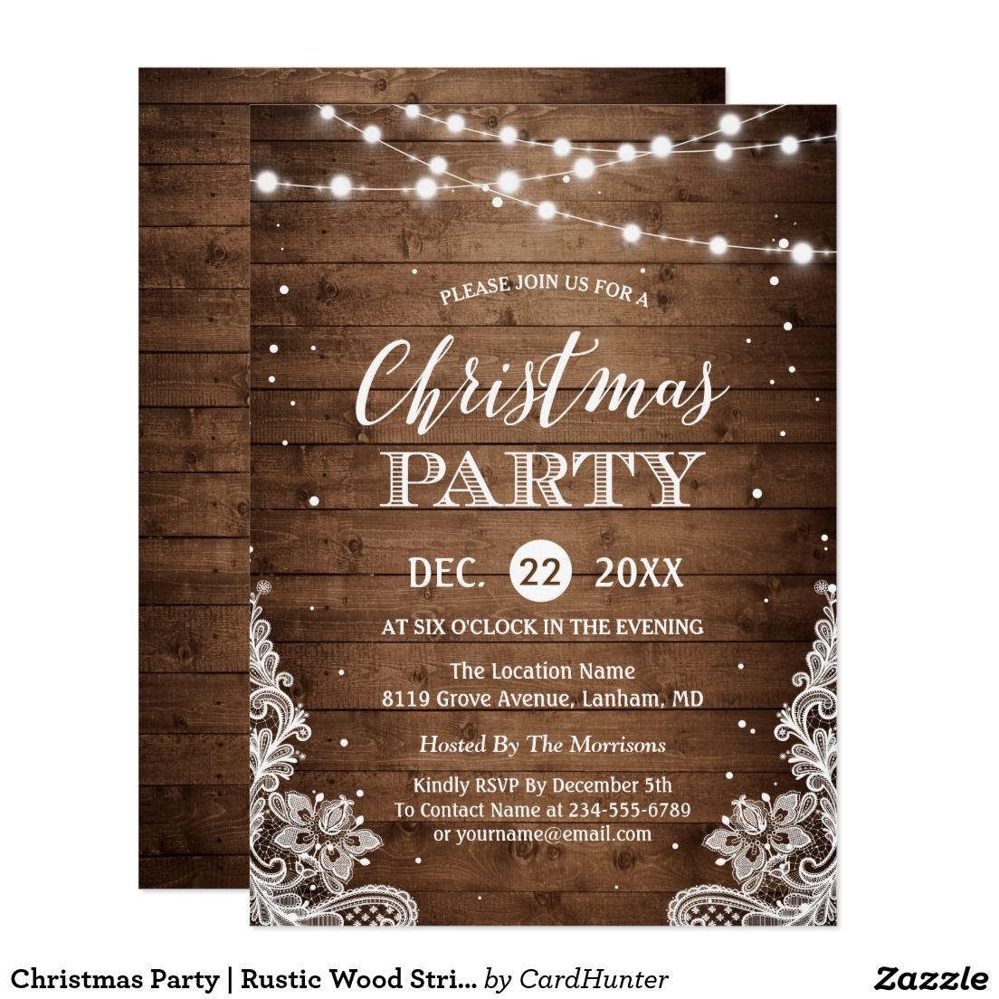 Christmas party rustic wood twinkle lights lace card pinterest christmas party rustic wood string lights lace card m4hsunfo