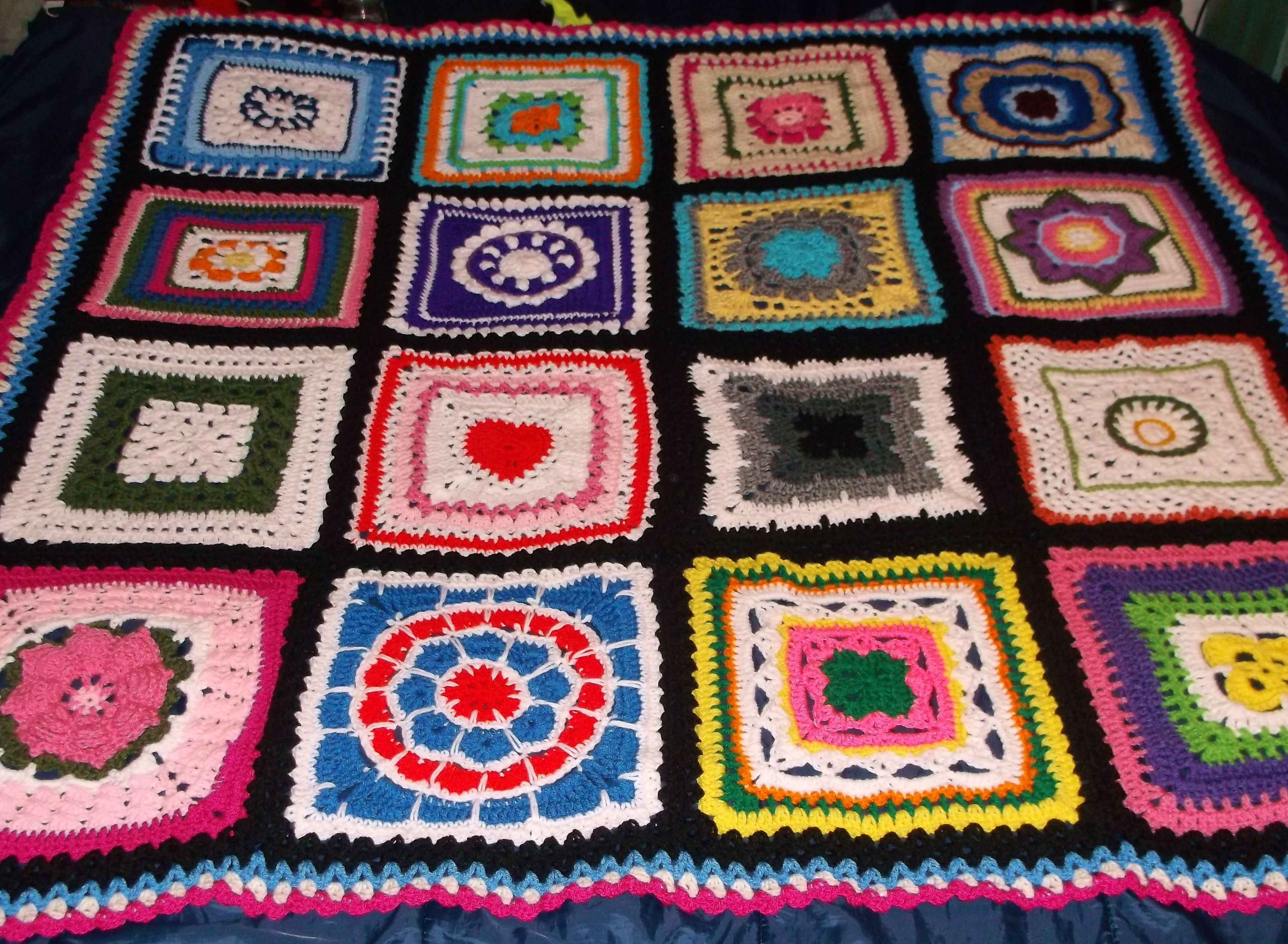 """12"""" Colorful Squares Crochet Afghan"""