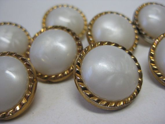 Gold White Pearl Buttons Vintage Eight by briteblubooger on Etsy, $5.50