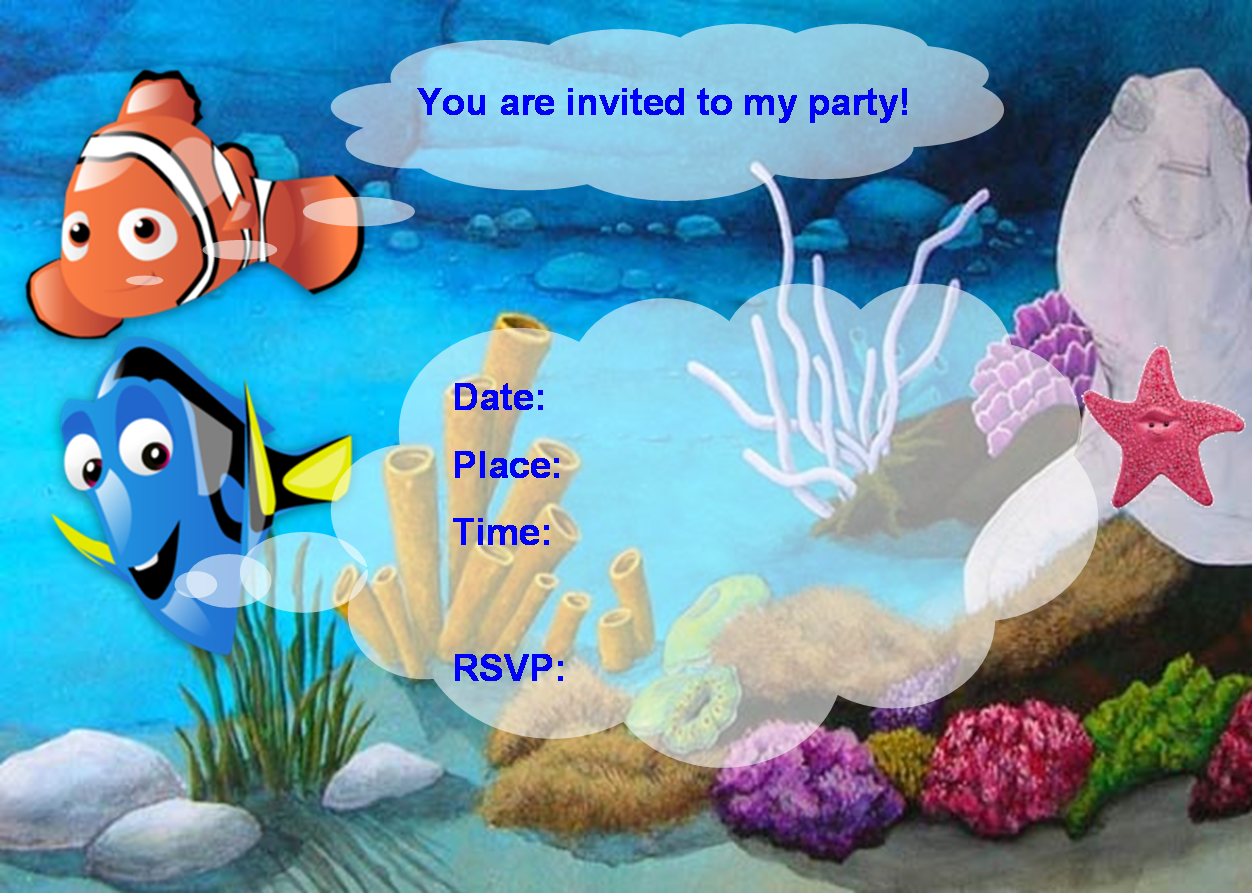 Finding nemo birthday party invitation free pdf for Nemo cake template