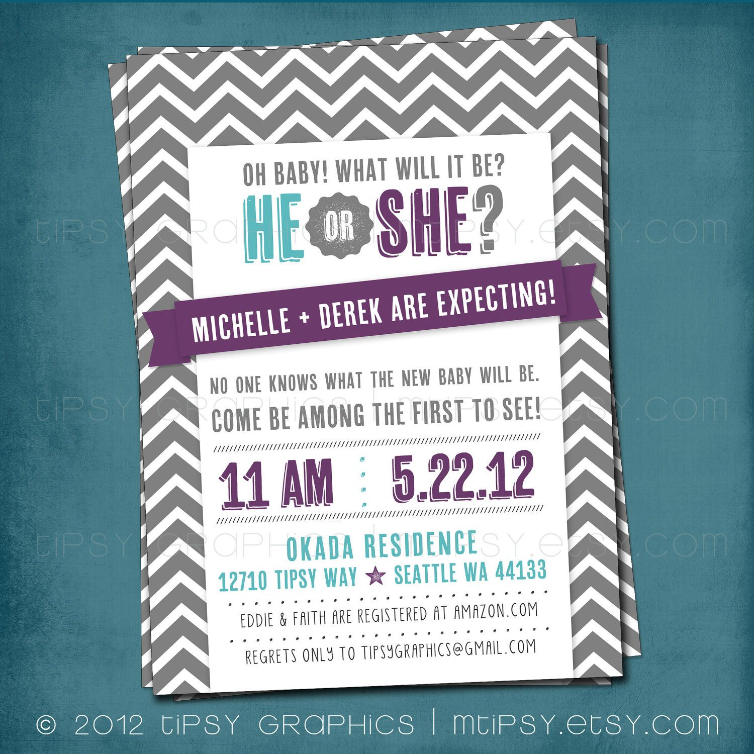 He or she chevron gender reveal gender neutral baby shower chevron gender reveal gender neutral baby shower invitation any text and filmwisefo Image collections