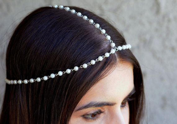 THE DIANE White Pearl Crown Hair Chain Head Jewelry In Silver 1920's style Prom Glamorous Headpiece Classy Spring Summer Festival Christmas #hairchains