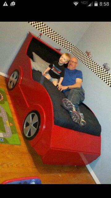 My Grandson Ian S Race Car Bed One Of My Most Fun Project Race Car Bed Car Bed Bed