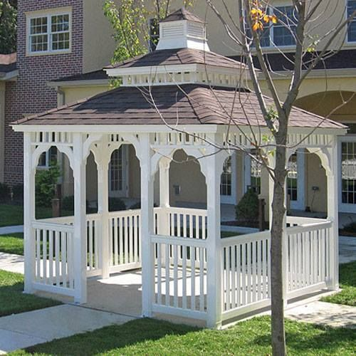 This Is Our 10 X 10 Square Gazebo Featuring A Country Style With White Vinyl A Cupola A Pagoda Roof No Floor And A Gazebo Rectangle Gazebo Victorian Gazebo