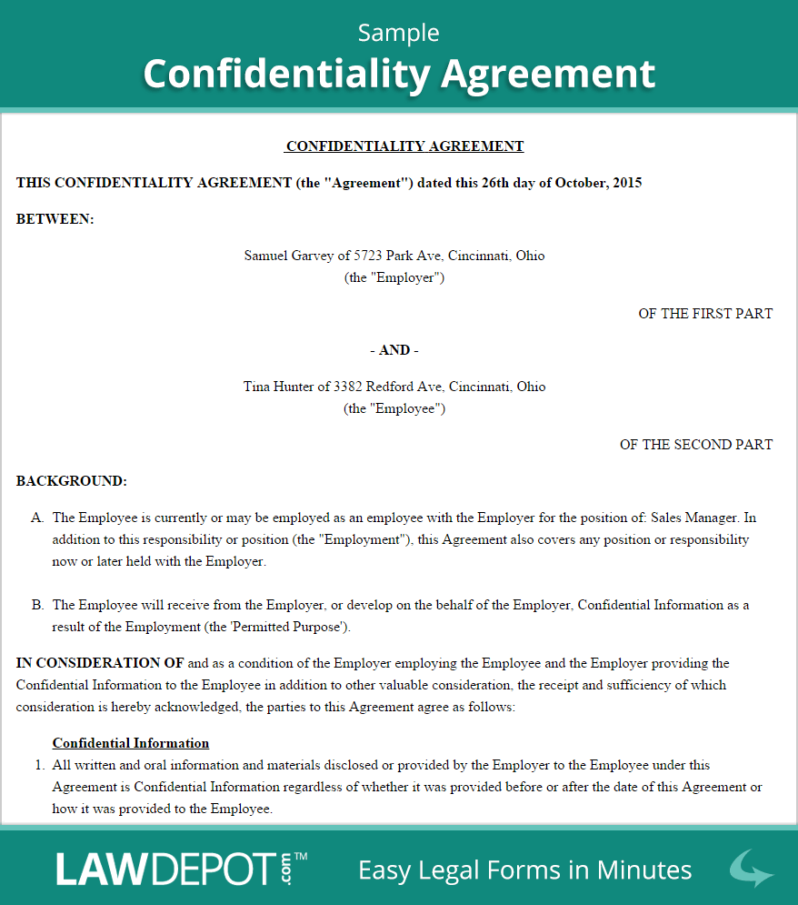 Employee Confidentiality Agreement Sample Non Disclosure