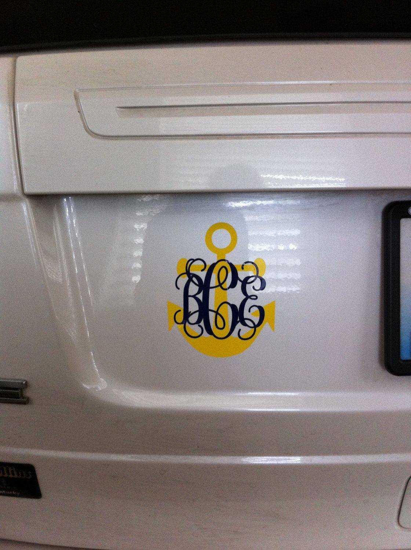 AnchorMonogram Car DecalTwo Color Via Etsy Cute For - Anchor monogram car decal