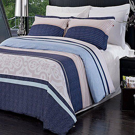 3pc Modern Contemporary Navy Blue Mens Boys Bedding Duvet Cover Set King Cal King Duvet Cover Sets Boys Bedding Sets Blue Bedding Sets