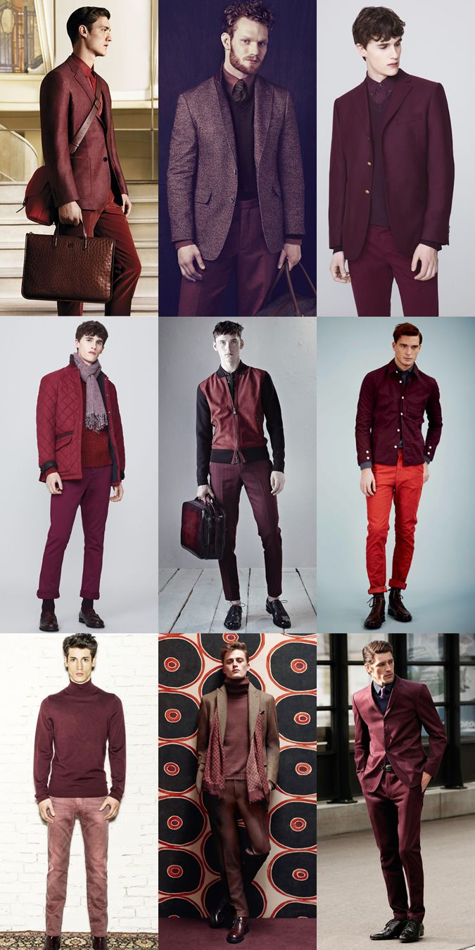 Men s Red Tonal Outfits Lookbook Inspiration  f7ee2e388