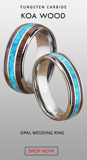 6mm Blue Opal Ring Mens Wedding Band Koa Wood Ring Blue Fire Opal Ring Tungsten Wedding Bands Women Opal Engagement Ring Koa Wood Ring