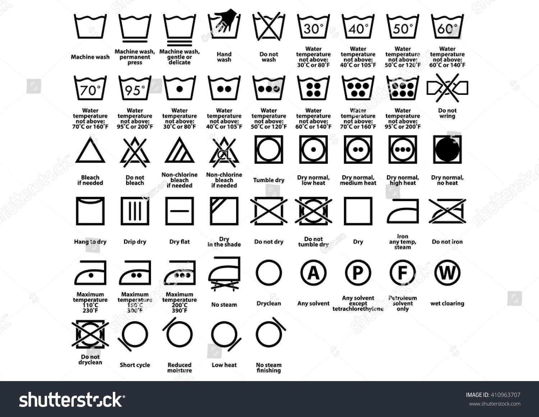 Laundry Symbol Care Symbols Vector Laundry Symbols Washing Machine Symbols Laundry Icons