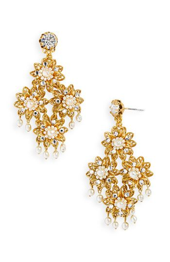 Miriam Haskell Legacy Floral Chandelier Earrings available at