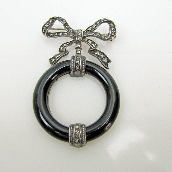 1920s Art Deco Scottish Silver Marcasite Onyx Agate Circle Brooch. Sterling Girandole Bow Drop Pendant Fob Lapel Pin.