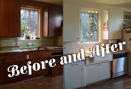 Before And After After Has White Cabinets Butcher Block And Beadboard Backsplash Kitchen Redesign Ikea Small Kitchen Ikea Kitchen
