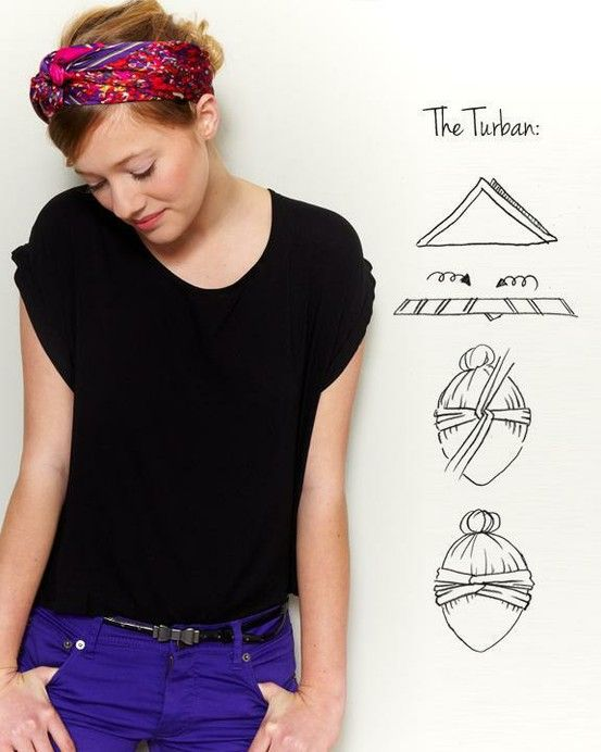How to Tie a Turban head scarf. Did it for me and my Girl. So cute + keeps the heat away ~ perfect!