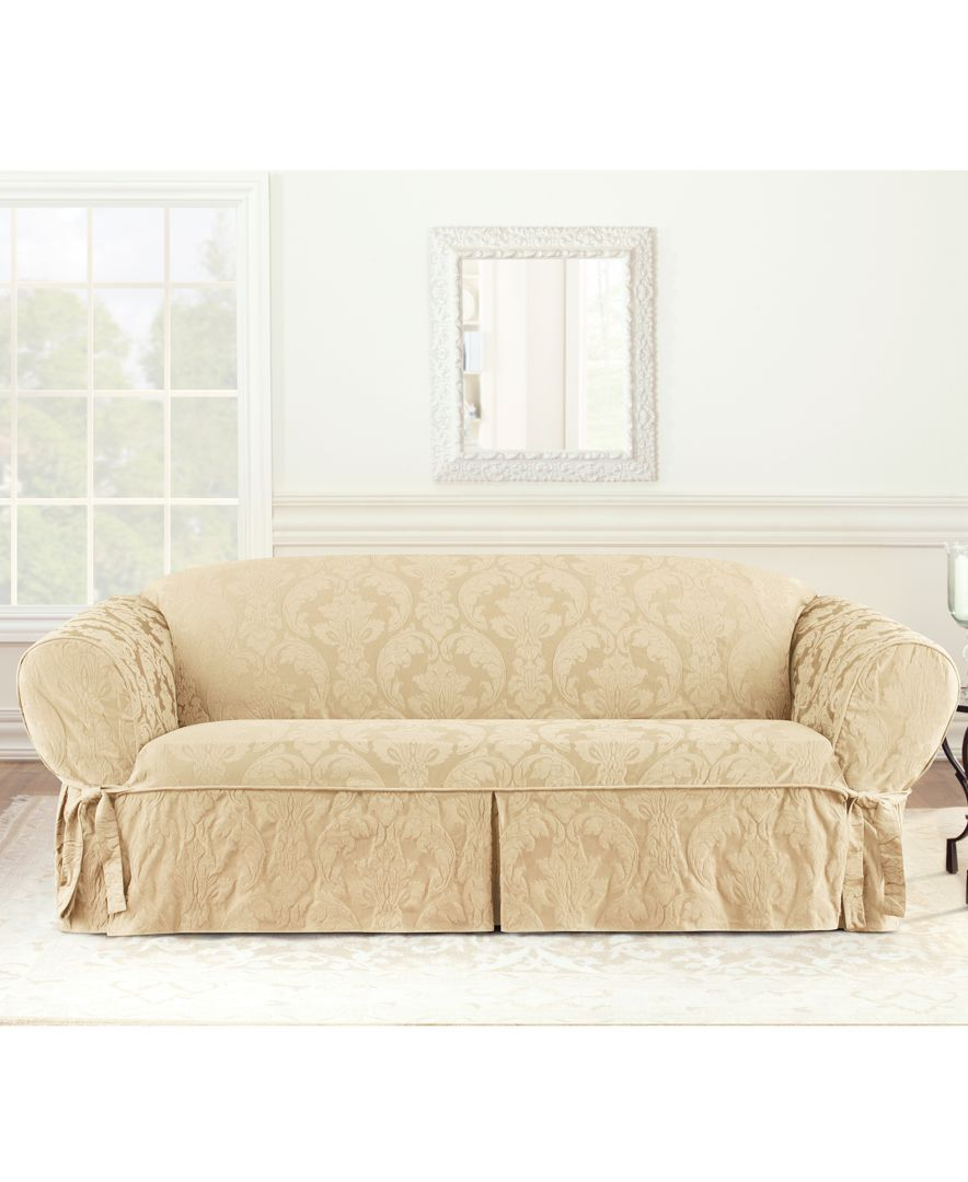Fitted Slipcovers Couches Matelasse Damask 1 Piece Sofa Slipcover Slipcovers Slipcovers