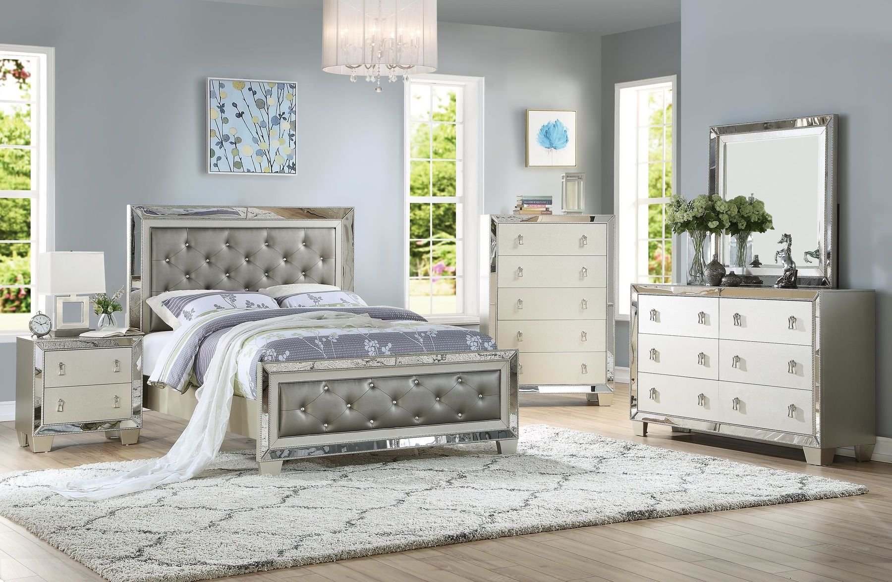 P9428 Queen Size Bed In 2020 Mirrored Bedroom Furniture Glam