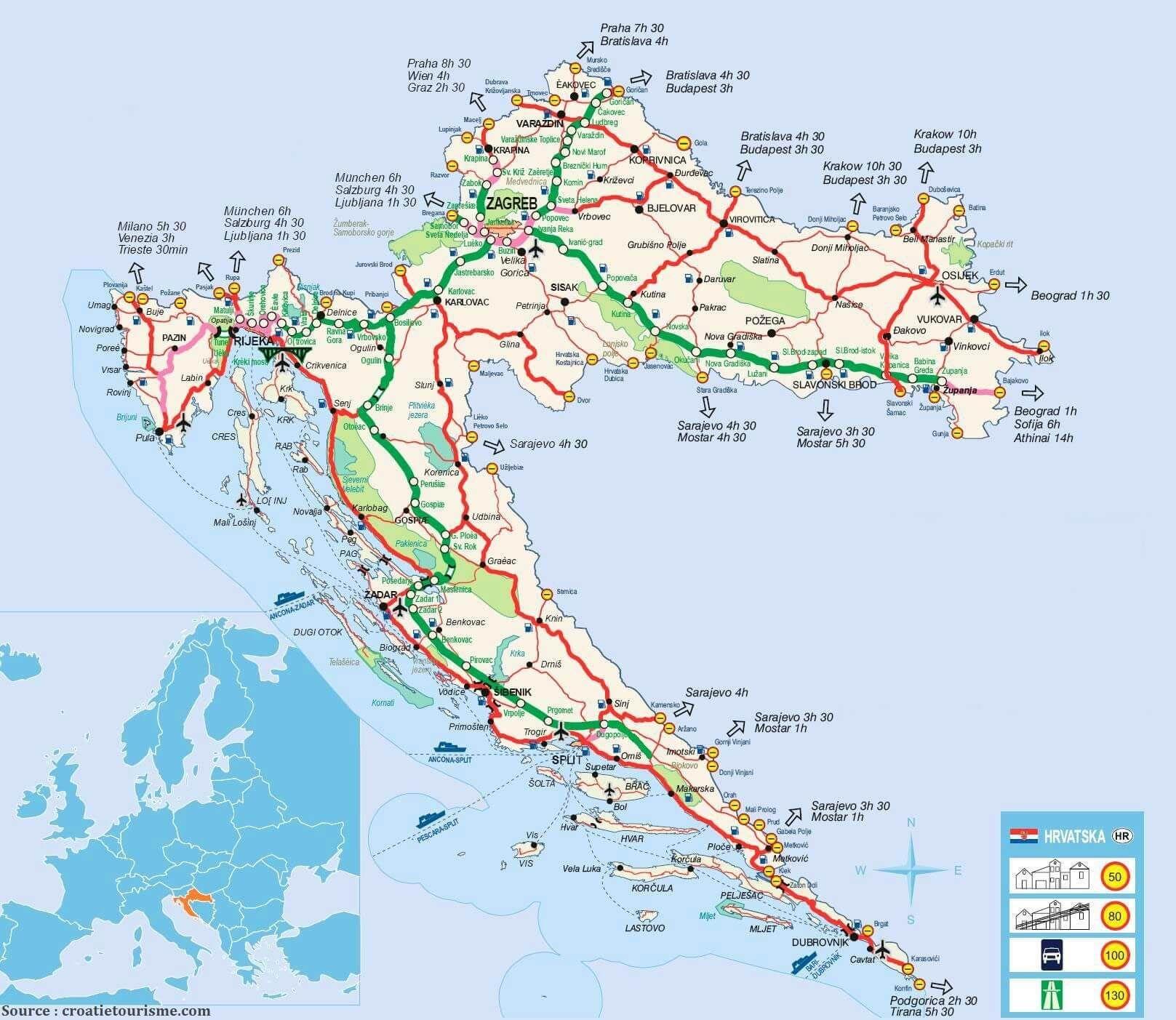 Carte De Croatie Regions Reliefs Sites A Ne Pas Manquer Routes Autoroutes Et Voies Ferrees Map Map Screenshot Screenshots