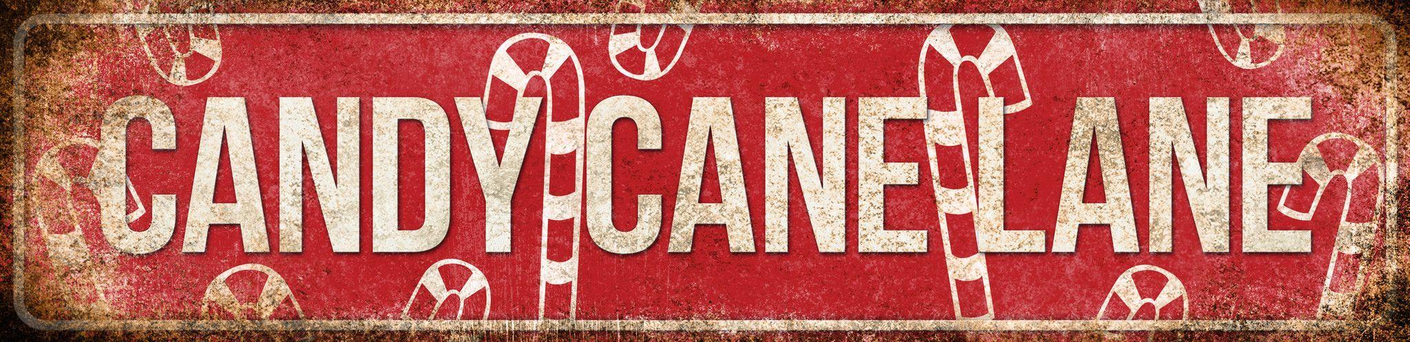 "Candy Cane Lane // 1 Metal Sign // 5.5"" x 22"" Mantel"