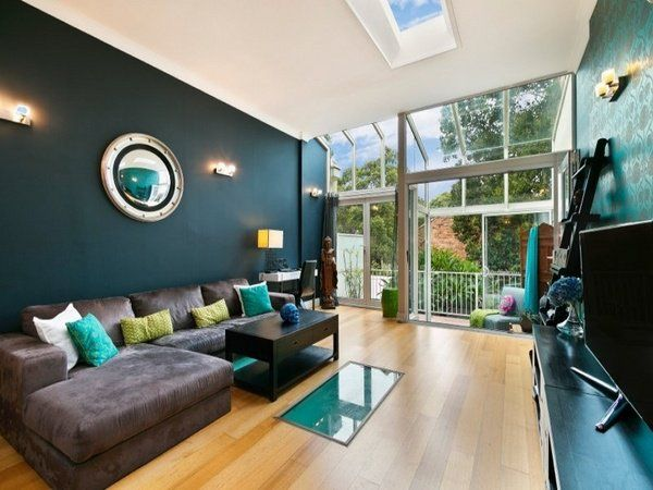 deep teal wall color modern living room decor ideas brown on living room color ideas id=85294