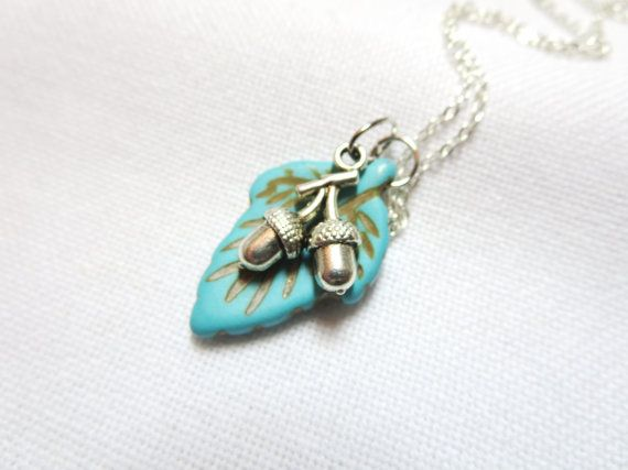 Turquoise Leaf Infinity necklace  acorn  bee by BeautyJewelryGifts