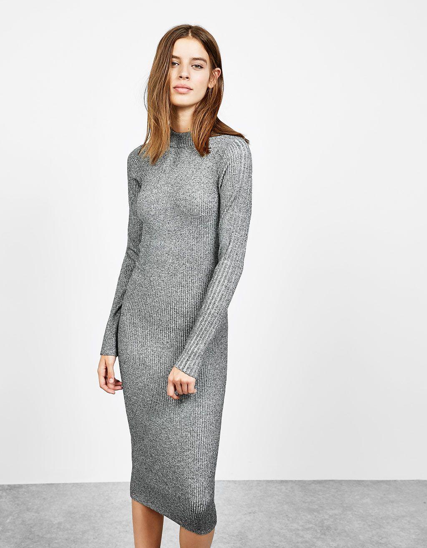 Bershka Greece Long Sleeved Fitted Dress Winter Dress Outfits Grey Midi Dress Long Sleeve Fitted Dress [ 1313 x 1024 Pixel ]