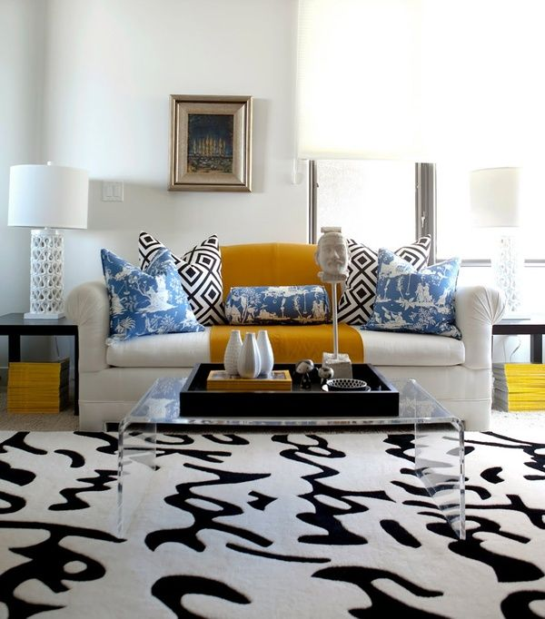 Best Script Rug Black And White Living Room With Pops Of Color 400 x 300