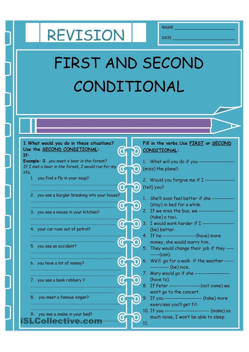 First and Second Conditional | ESL | Pinterest | English, Worksheets ...