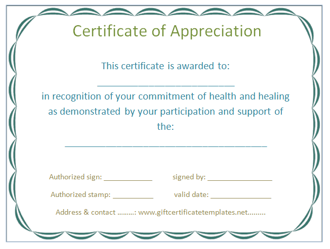 Employee Certificate Of Appreciation Template  Certificate