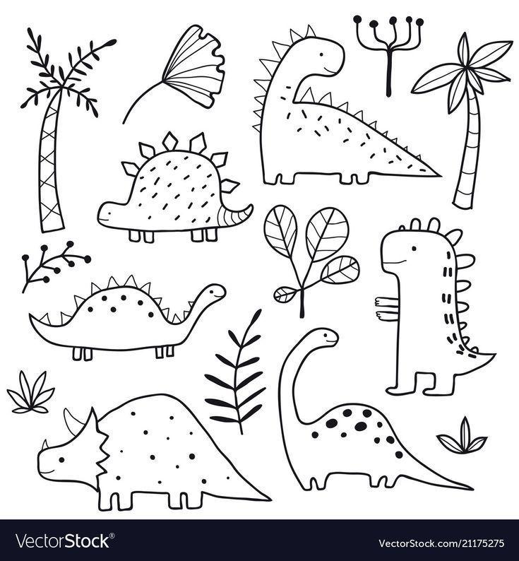 Cute dinosaurs and tropic plants Royalty Free Vect... - #cartoon #Cute #dinosaur..., #cartoo...
