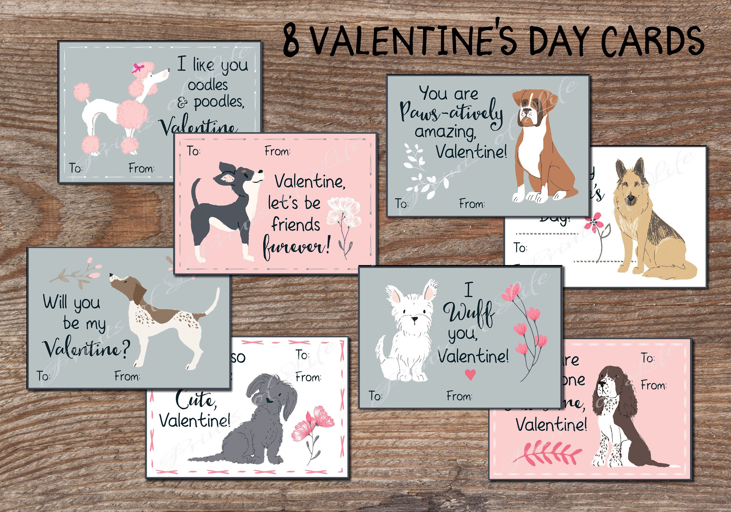 Kids Valentine Cards For School Cute Dog Valentines Day Tags For