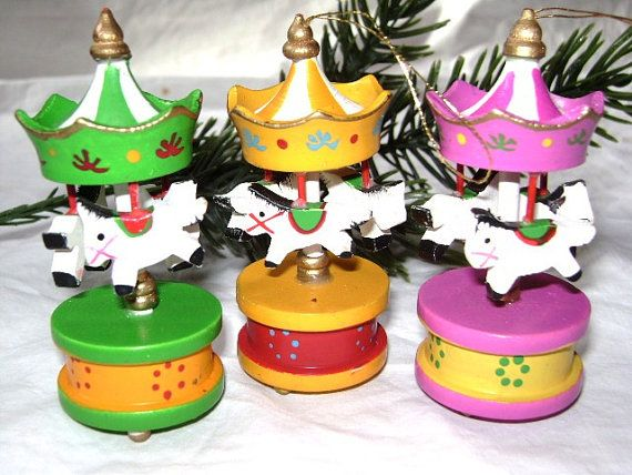 3 Vintage Wooden Carousel Christmas Ornaments, Miniature Merry Go