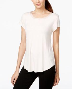 5cf04370 Alfani Petite Satin-Trim High-Low T-Shirt, Created for Macy's - Pink P/XL