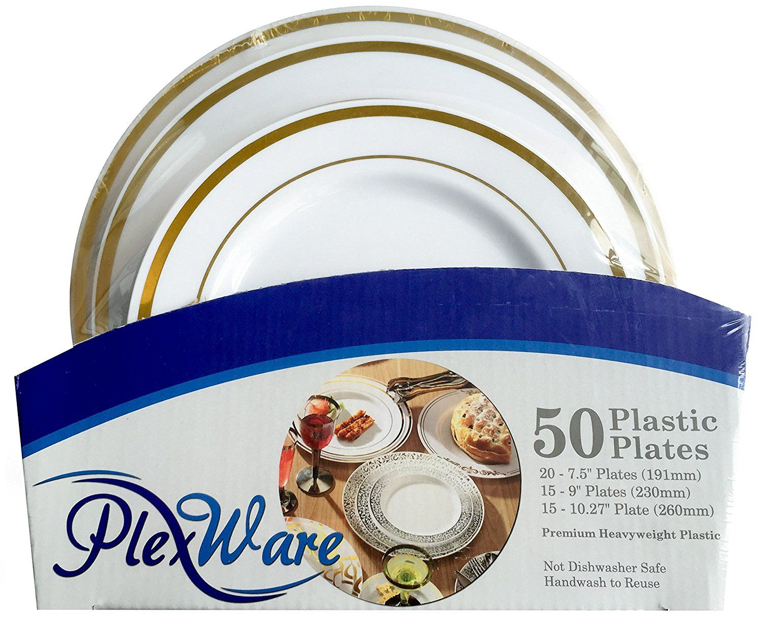 Amazon.com: Plexware Golden Rim Plastic Plates 50 Piece Set (20-7.5 ...