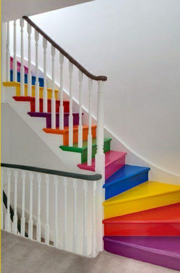 holztreppe diy | Holztreppe streichen – farbig und kreativ! | Treppe ...