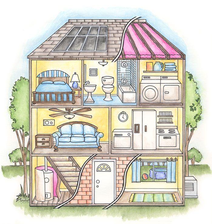 решил дом рисунок изнутри чем использовать