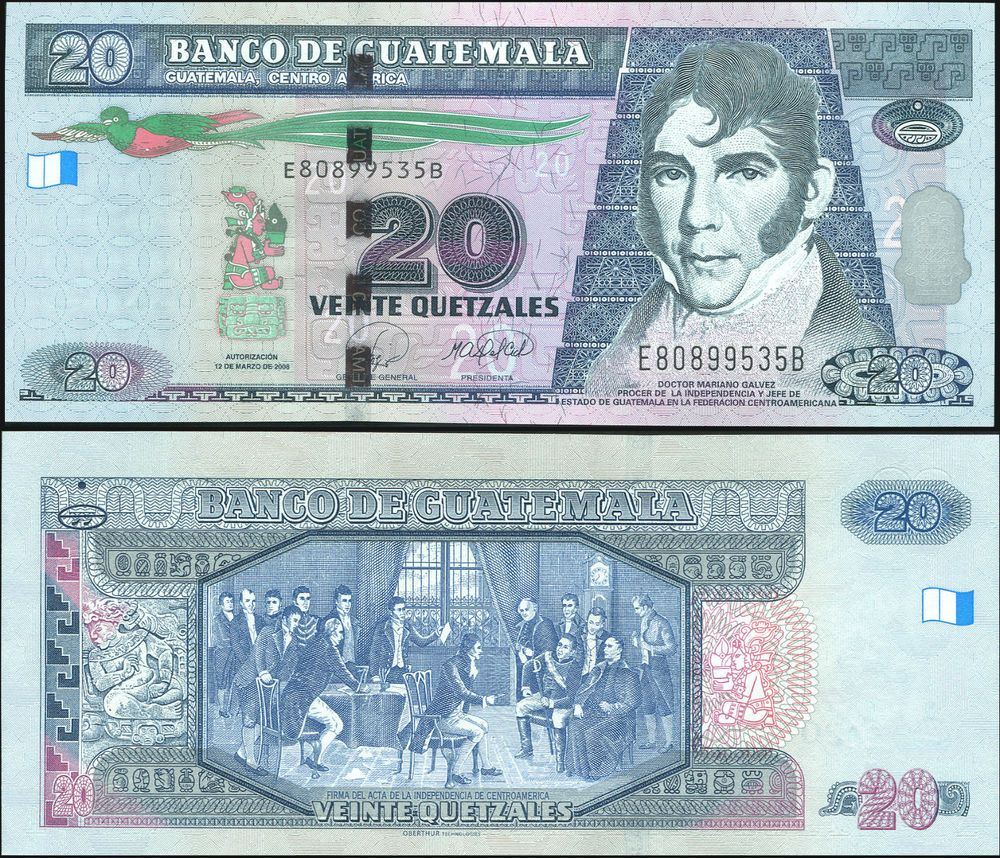 Guatemala 20 Quetzales 2008 Unc Banknote Cat P Nl