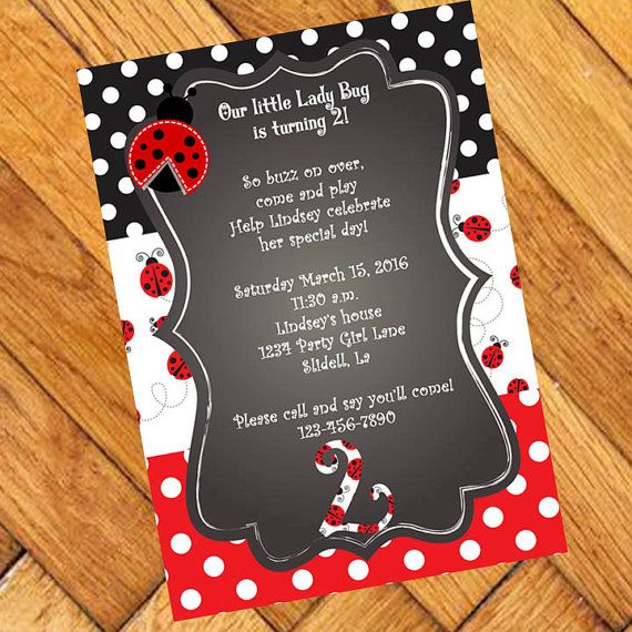 Ladybug Birthday Invitation Lady Bug Chalkboard By