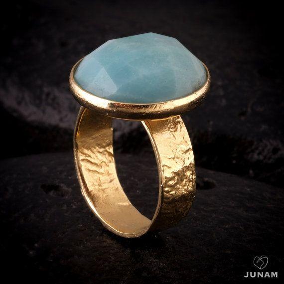 Gold Amazonite ring boho jewelry rounded by JunamJewelry on Etsy