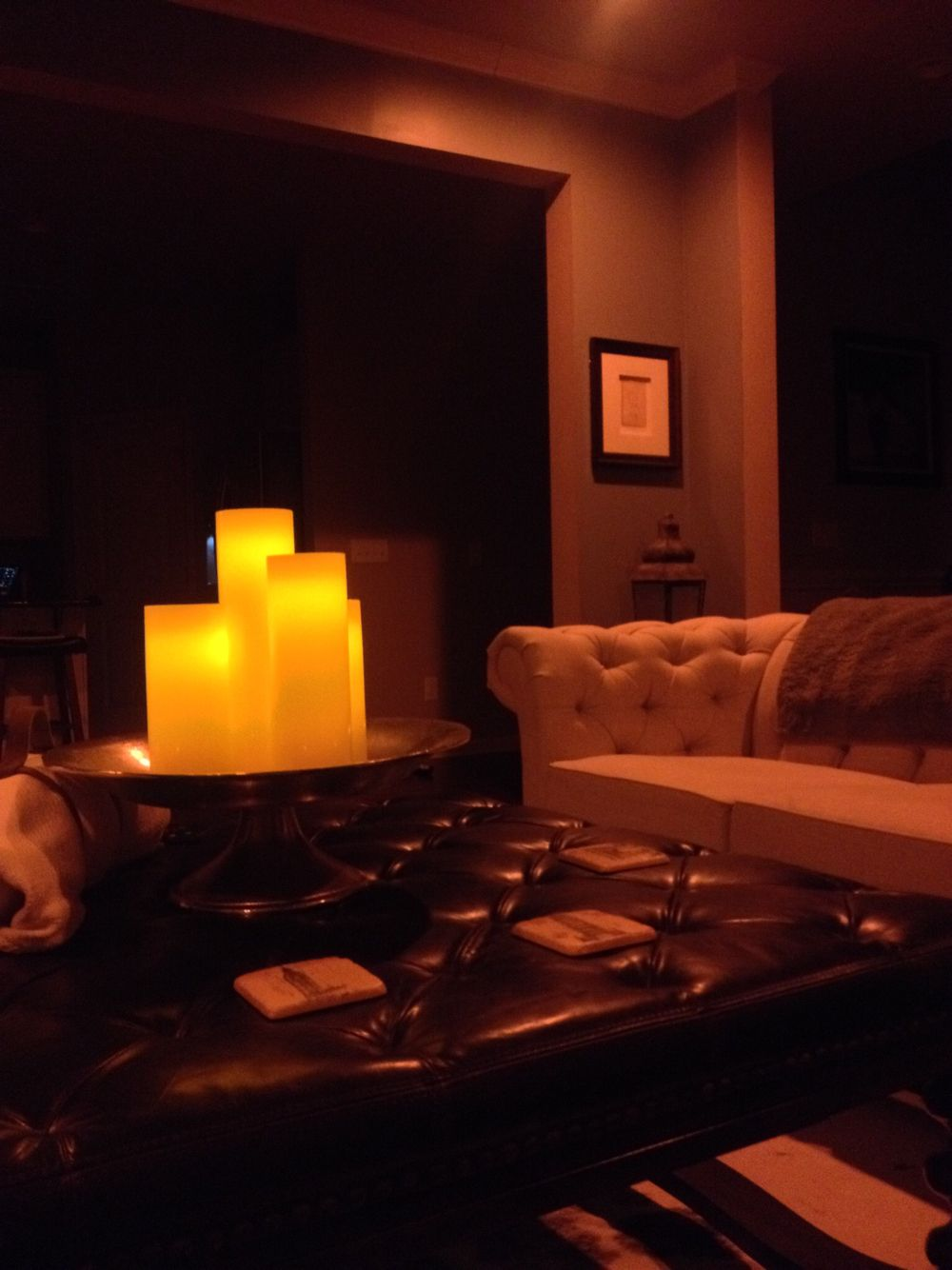 Living Room At Night Philips Hue Lighting Oversized Leather Ottoman Remote Controlled Candles Picture Art Phillips Hue Lighting Hue Philips Hue Lights #philips #hue #living #room