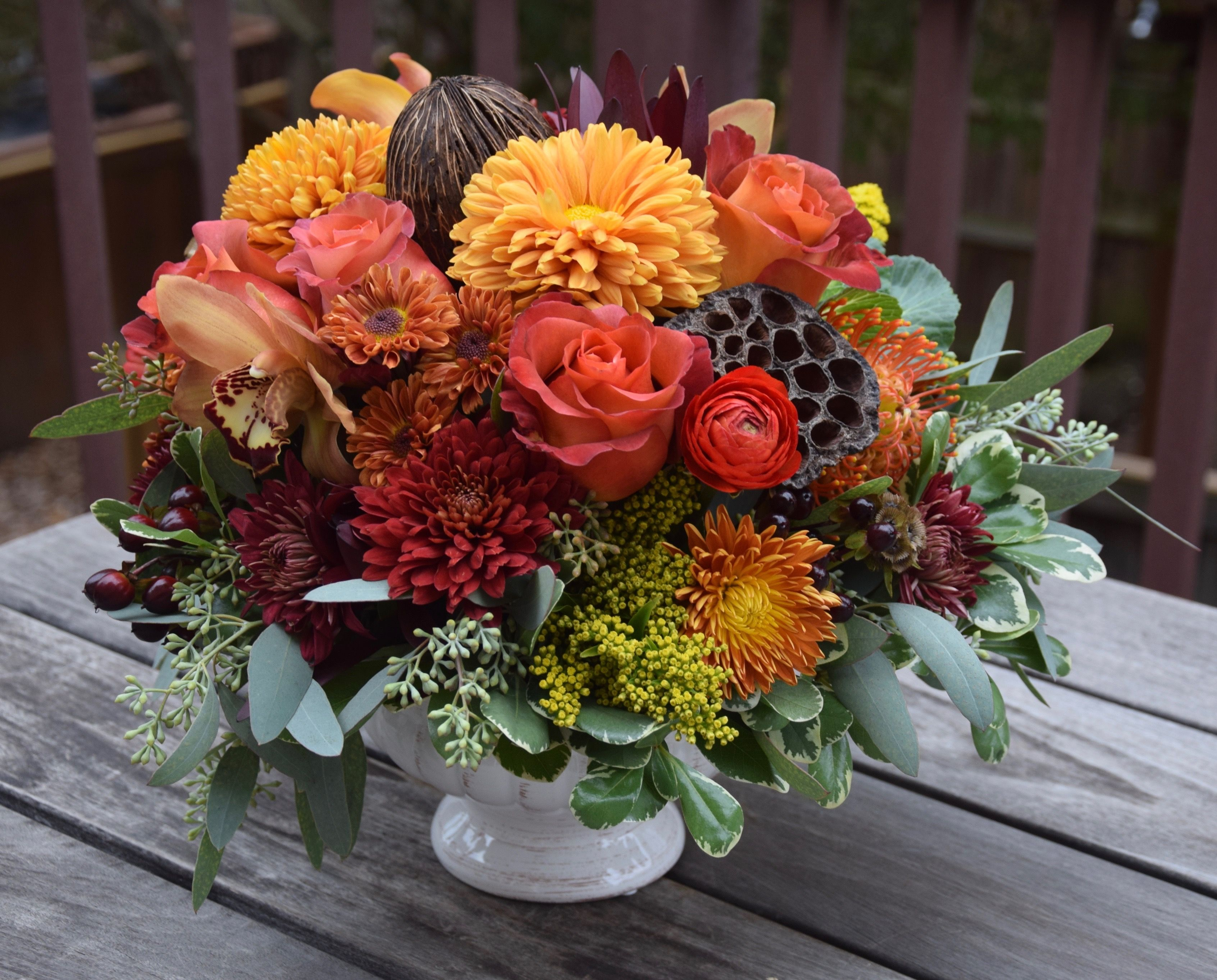 """Thanksgiving centerpiece. """"I can do this with silks"""