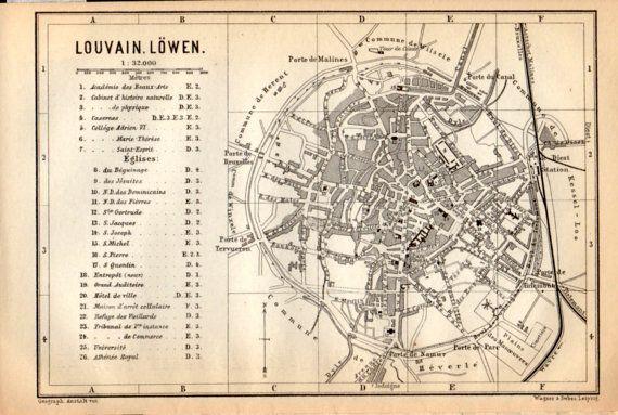 1897 Leuven Belgium Antique Map Vintage Lithograph Leuven