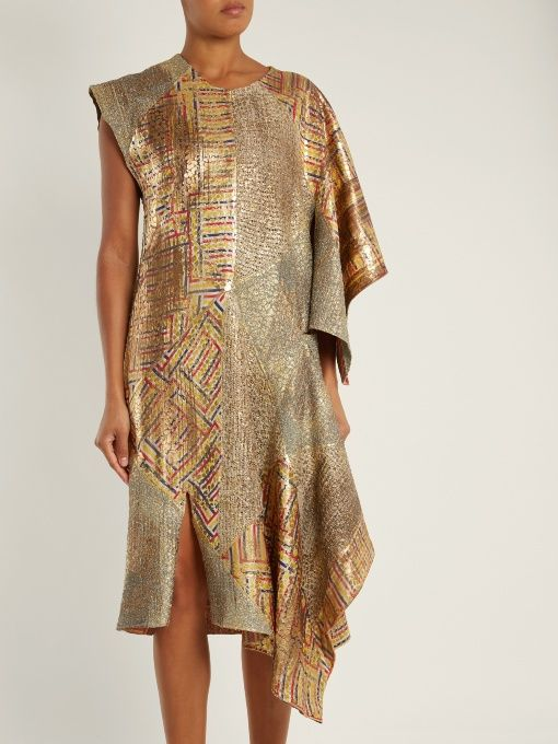Asymmetric-detail patchwork jacquard dress J.W.Anderson Best Place Cheap Price YiZNe6Hxr