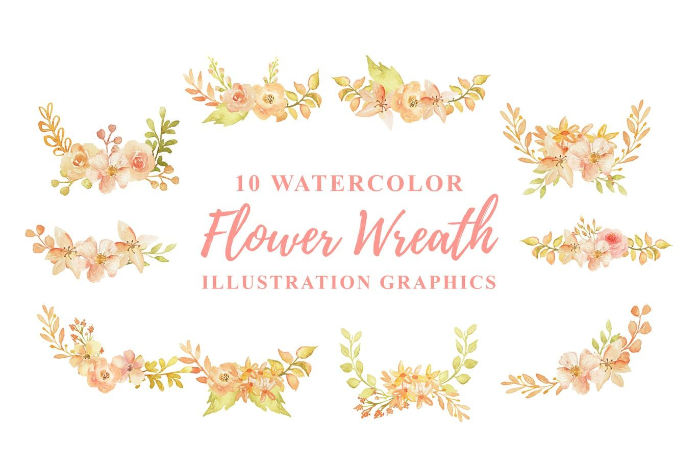 Photo of 10 watercolor floral wreath illustration graphics