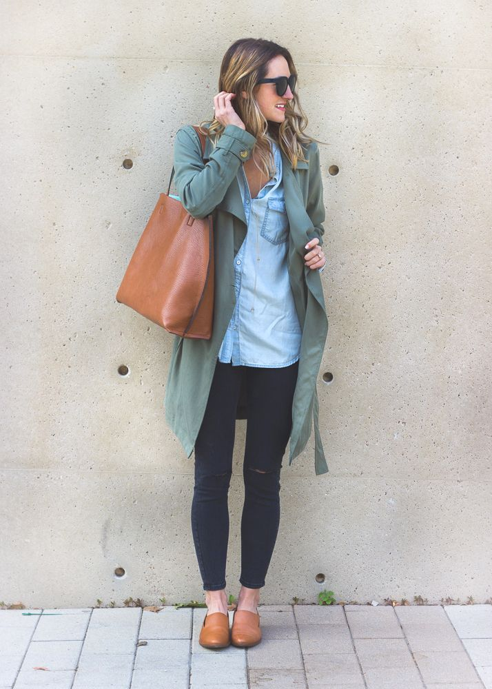 f9f3904342 Green Trench Coat (on sale!) & Chambray / LivvyLand | Fashion ...