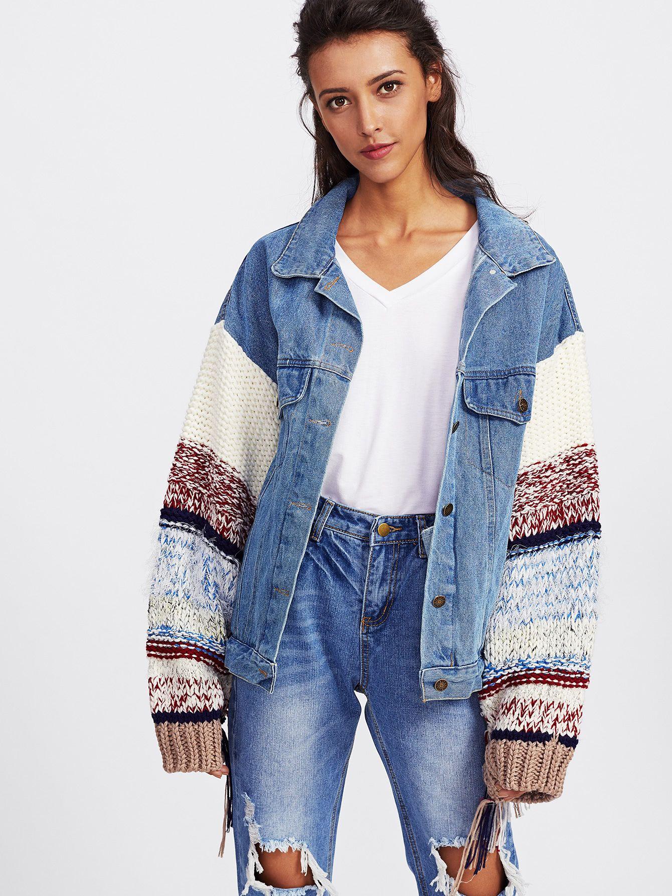 Shop Contrast Knit Sleeve Denim Jacket Online Shein Offers Contrast Knit Sleeve Denim Jacket Amp More To Fit You Denim Jacket Women Denim Jacket Denim Ideas [ 1785 x 1340 Pixel ]